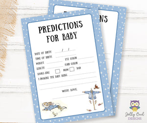 Peter Rabbit Themed Baby Shower Game Card Predictions For Baby