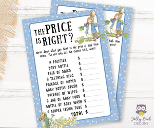 Peter Rabbit Themed Baby Shower Game Card The Price Is Right