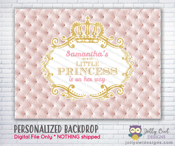 Princess Pink and Gold Baby Shower Backdrop
