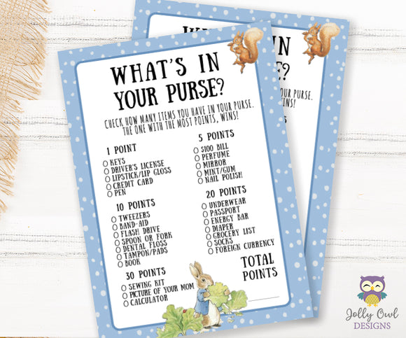Peter Rabbit Themed Baby Shower Game Card What's In Your Purse?