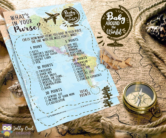 Baby Around The World Baby Shower Game Card - What's In Your Purse?