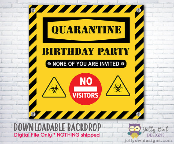 Quarantine Birthday Party Backdrop - INSTANT DOWNLOAD Digital File