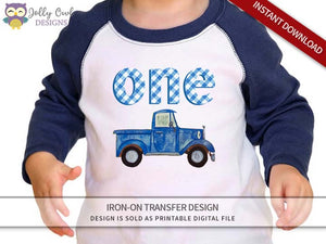 Little Blue Truck Iron On Transfer Shirt Design-1st Birthday / Age 1