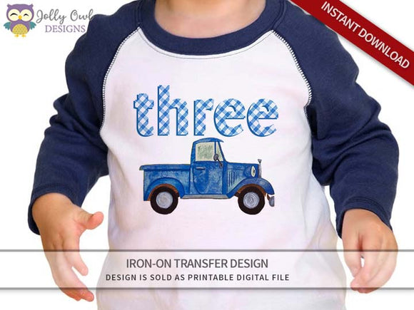 Little Blue Truck Iron On Transfer Shirt Design for 3rd Birthday / Age 3