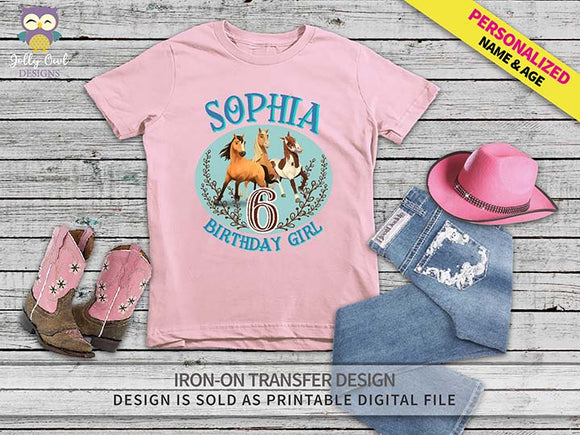 Spirit Riding Free Iron On Transfer Shirt Design / Personalized Name and Age / Birthday Girl - Jolly Owl Designs