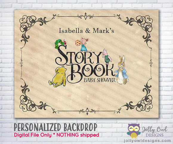 Storybook Themed Printable Backdrop for Baby Shower