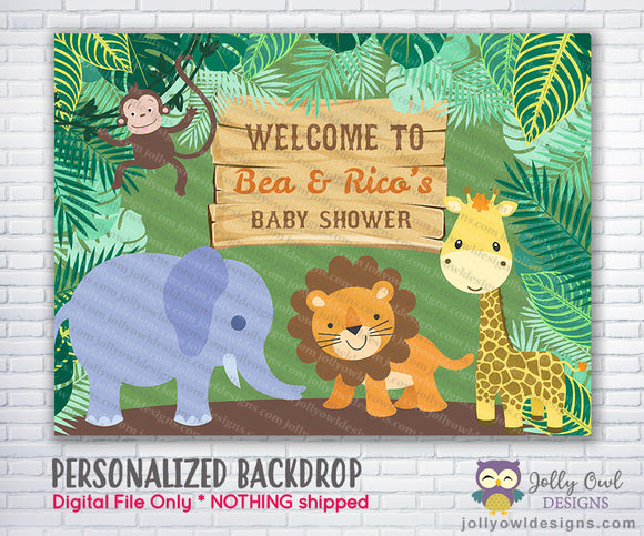 Wild Safari Jungle Party Backdrop - Jolly Owl Designs
