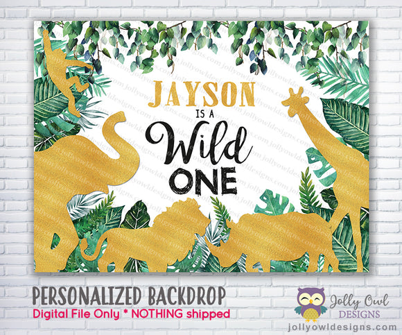 Wild Safari Gold Birthday Party Backdrop - Jolly Owl Designs