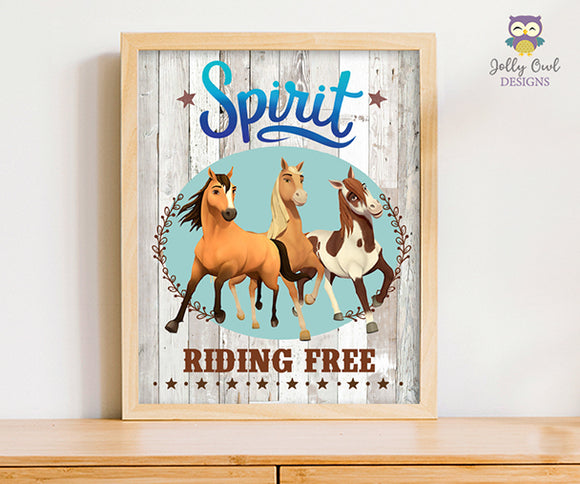 Spirit Riding Free Birthday Party Signs