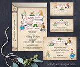 Storybook Baby Shower Invitation with Book Request, Diaper Raffle Insert and Thank You Card