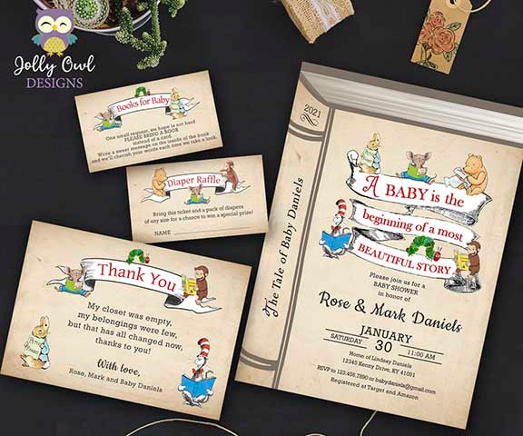 Storybook Baby Shower Invitation Bundle with Book Request, Diaper Raffle Insert and Thank You Card