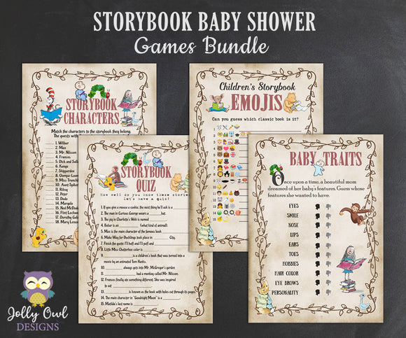 Storybook Book Themed Baby Shower Games Bundle Set - Digital Download