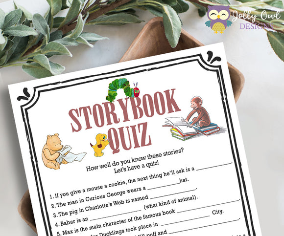 Storybook Book Themed Baby Shower Game - Quiz