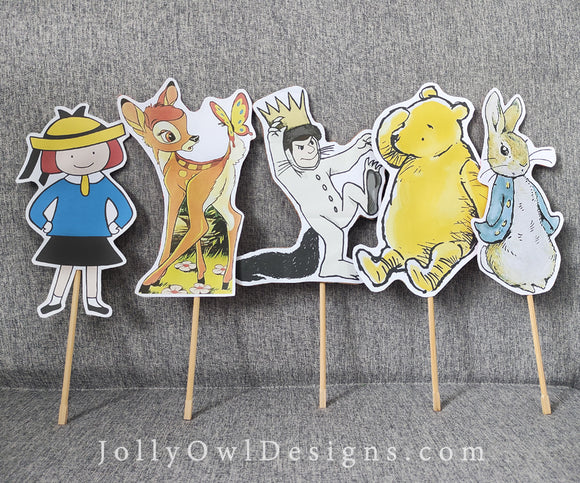 Storybook Book Themed Party Cutout Props Centerpieces - Children's Book Characters - Digital File Only