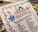 Storybook Book Themed Baby Shower - Guess and Match The Book Character Game