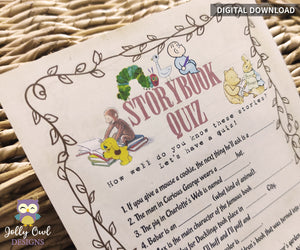 Story Book Themed Baby Shower Game - Children's Book Quiz