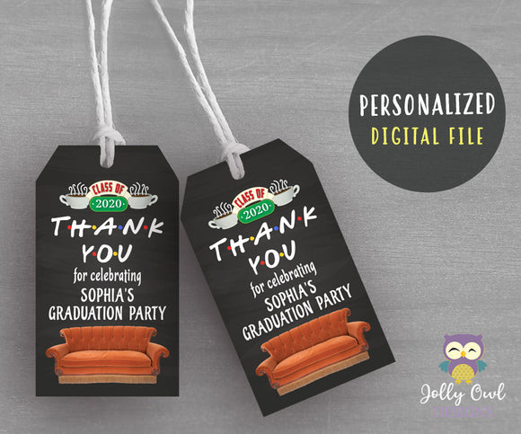 Friends TV Thank You Tag for Graduation - Personalized