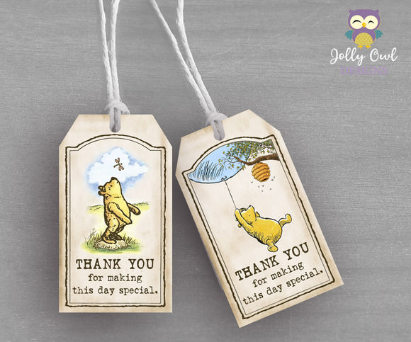 Winnie The Pooh Party Favor Tag - Thank You Tag