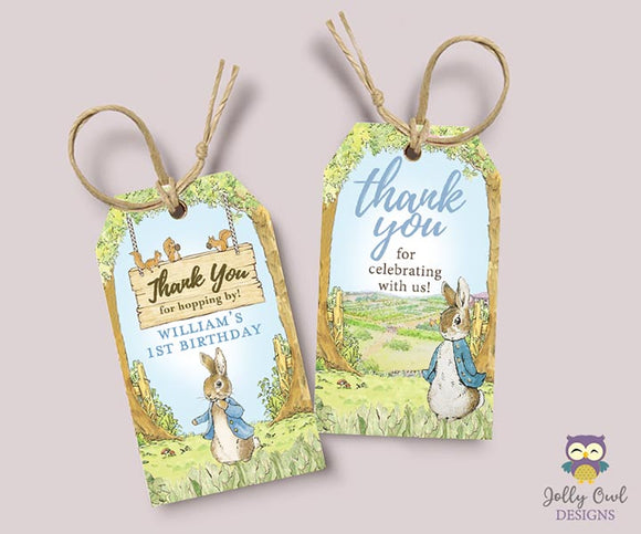 Peter Rabbit Party Favor Thank You Tag Personalized