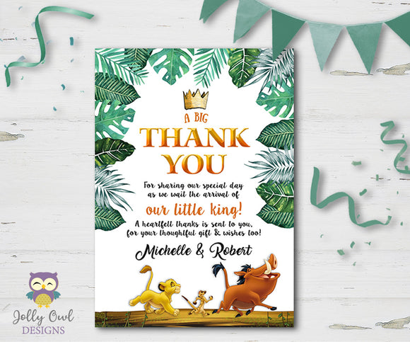 The Lion King Baby Shower Thank You Card