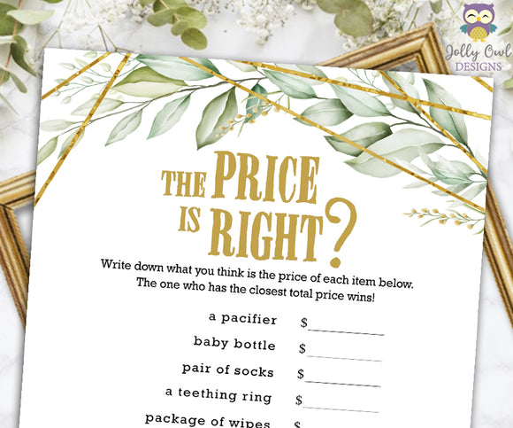 Gold Geometric Botanical Greenery Baby Shower Game - The Price Is Right