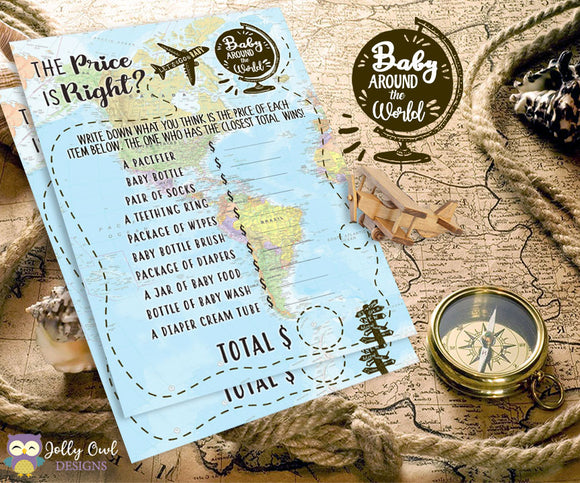Baby Around The World Baby Shower Game Card - The Price Is Right