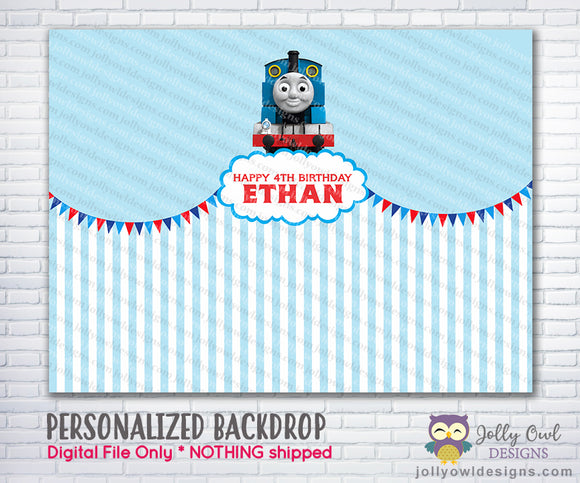 Thomas The Train Party Backdrop - Jolly Owl Designs