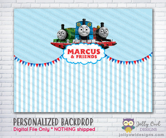 Thomas and Friends Party Backdrop - Jolly Owl Designs