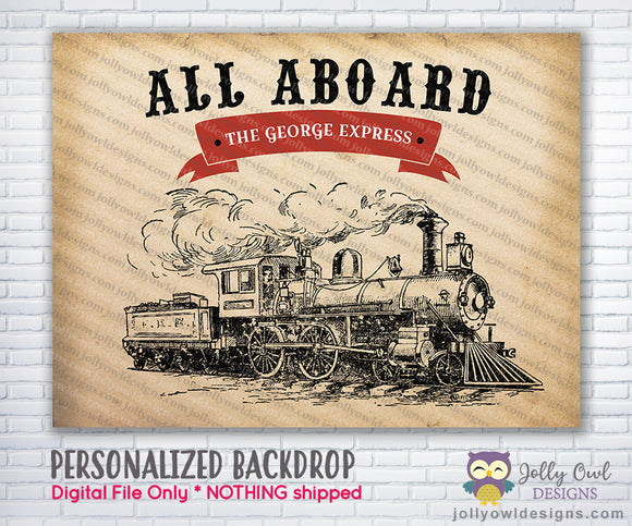 Vintage Train Birthday Party Backdrop