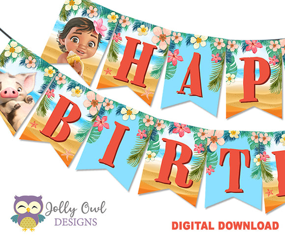 Moana Happy Birthday Printable Banner - Tropical Summer Beach Hawaiian