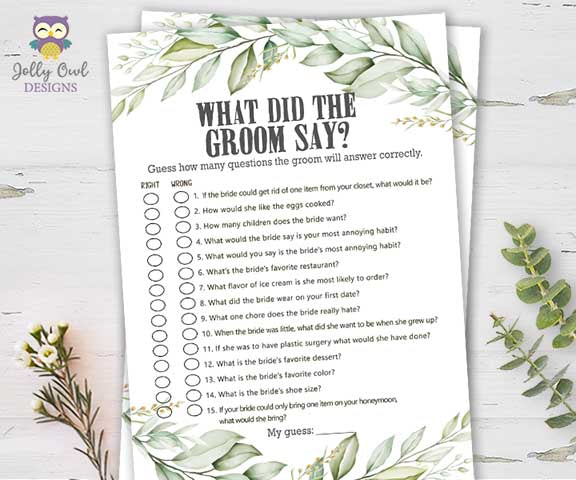 Botanical Greenery Bridal Shower Game - What Did The Groom Say About His Bride?