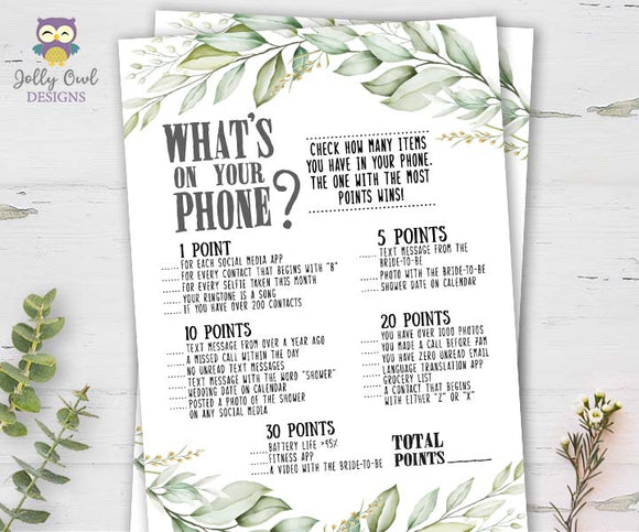 Botanical Greenery Bridal Shower Game - What's In Your Phone?