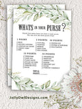 Botanical Greenery Bridal Shower Game - What's In Your Purse