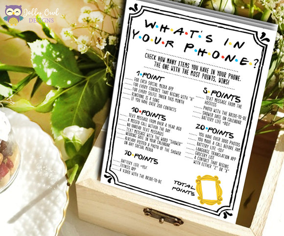 Friends TV Show Bridal Shower - What's On Your Phone Game