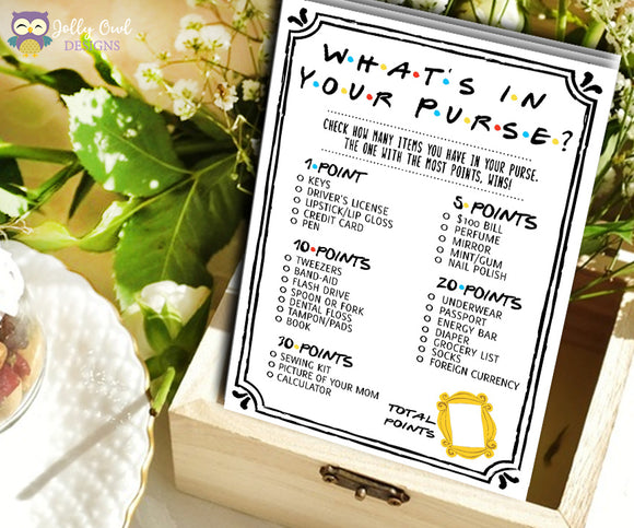 Friends TV Show Bridal Shower Game - What's In Your Purse?
