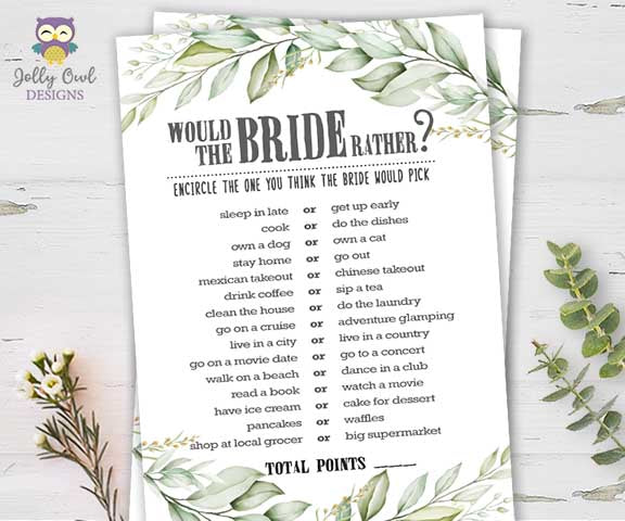 Botanical Greenery Bridal Shower Game - Would the bride rather?