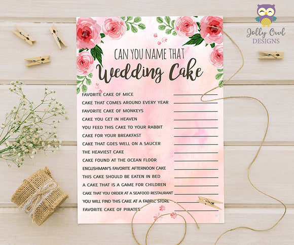 Floral Watercolor Themed Bridal Shower Game - The Wedding Cake