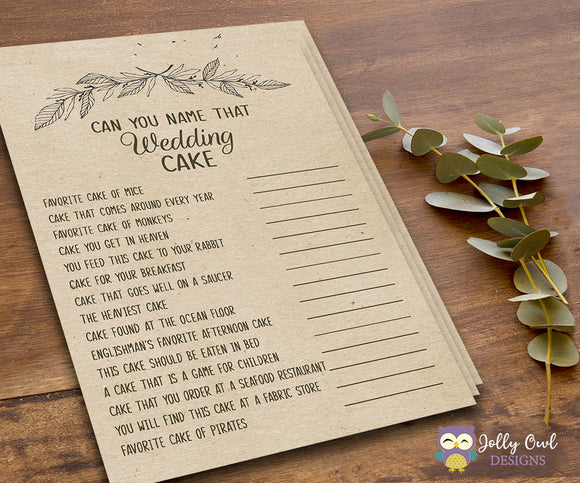 Rustic Themed Bridal Shower Game - The Wedding Cake - Jolly Owl Designs