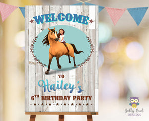 Spirit Riding Free Birthday Party Welcome Sign - Personalized