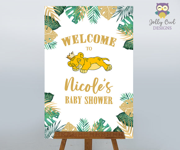 The Lion King Baby Shower Sign - Personalized Welcome Sign - Digital File