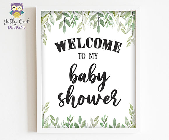 Botanical Greenery Baby Shower Party Sign - Welcome to my Baby Shower