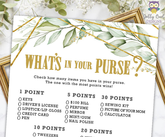 Gold Geometric Botanical Greenery Baby Shower Game - What's In Your Purse