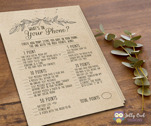 Rustic Themed Bridal Shower Game What's In Your Phone?
