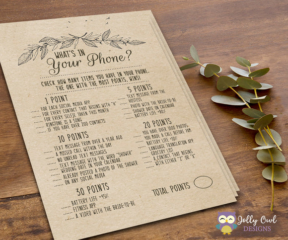 Rustic Themed Bridal Shower Game What's In Your Phone? - Jolly Owl Designs