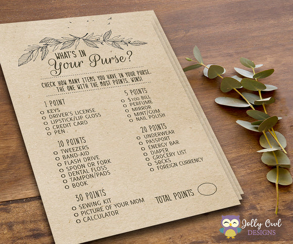 Rustic Themed Bridal Shower Game What's In Your Purse? - Jolly Owl Designs