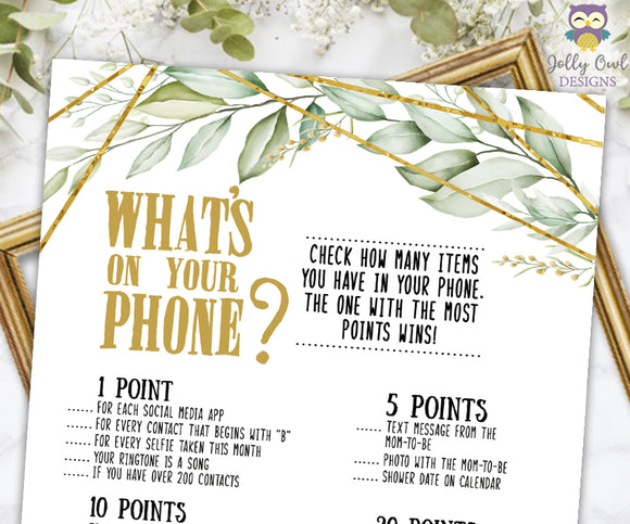 Gold Geometric Botanical Greenery Baby Shower Game - What's In Your Phone