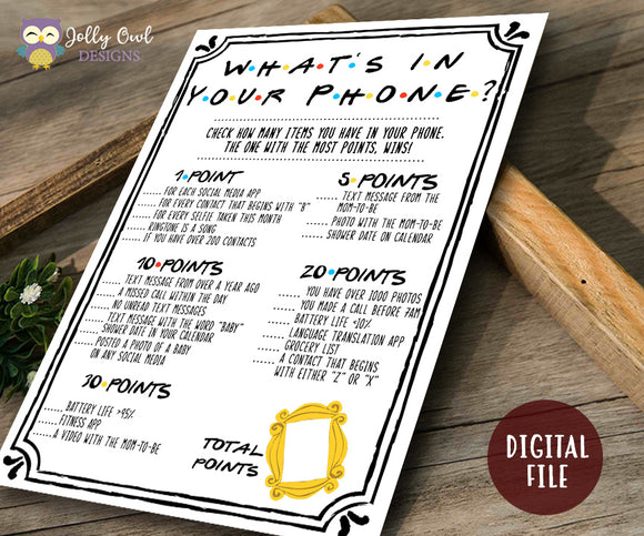 Friends TV Show Baby Shower Game- What's On Your Phone
