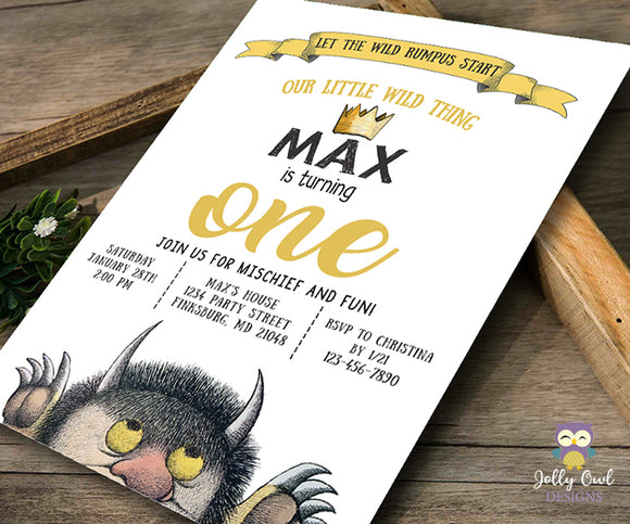 Where The Wild Things Are Birthday Party Invitation