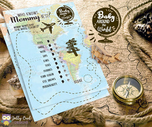 Baby Around The World Baby Shower Game Card - Who Knows Mommy Best?