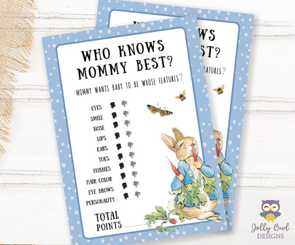 Peter Rabbit Themed Baby Shower Game Card Who Knows Mommy Best?